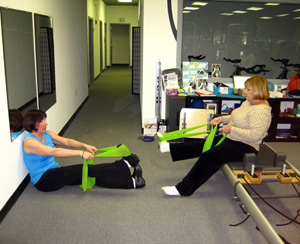 pilaties, stretching and more with Edye Discount of Synergy Chiropractic and Rehabilitation